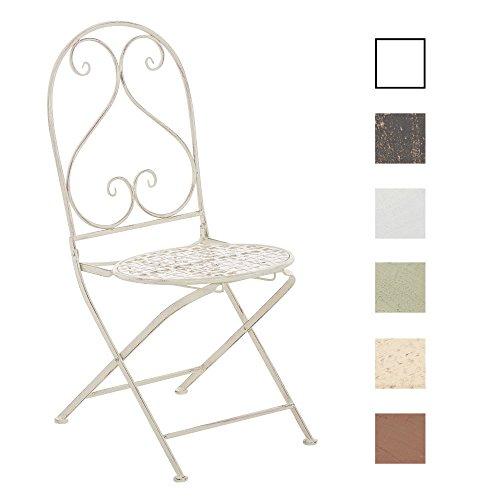 CLP Chaise nostalgique pliable VAHAN Loraville, en fer forgé, chaise en fer style nostalgique, ultra-élégant, 6 couleurs au choix blanc