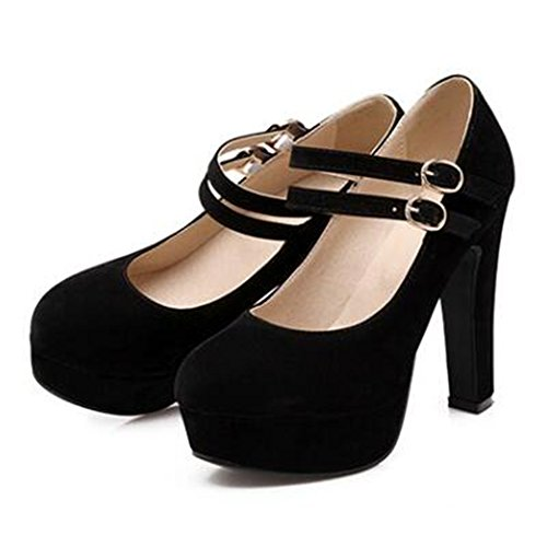 Summerwhisper Women's Dressy Double Strap Round Toe Pumps Platform Chunky Extreme High Heel Shoes Black 6 B(M) US
