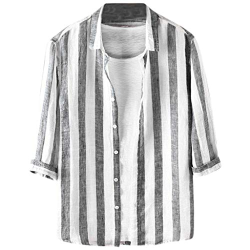 Tmj Halter - New in Fashion Haalife◕‿Men's Fashion Short Sleeve Regular Fit Button Down Shirt Casual Vertical Striped Dress Shirt S-XXL Black