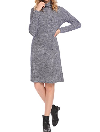 Mofavor Tunic Sweater Dresses for Women Polo Turtleneck Sweaters Dress Women