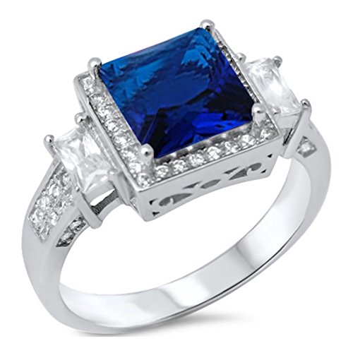 Halo Wedding Ring Princess Cut Deep Blue Simulated Sapphire Baguette Round CZ 925 Sterling Silver