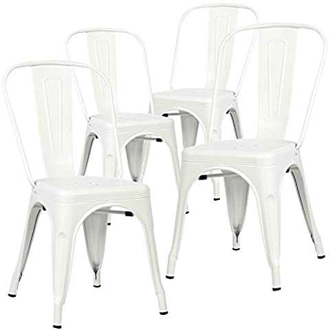 Poly and Bark Tolix Style Bistro A Dining Side Chair (Set of 4), White (White Bistro Dining Table)