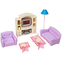 Barbie Size Dollhouse Furniture- Living Room with TV/DVD Set & Show Case