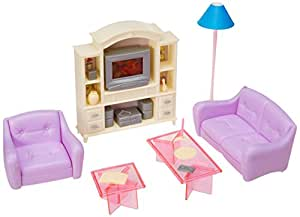 My Fancy Life Barbie Size Dollhouse Furniture, Living Room with TV/DVD Set and Show Case