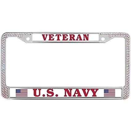 Amazon.com: GND Car Licence Plate frames VETERAN U.S. NAVY Colored ...