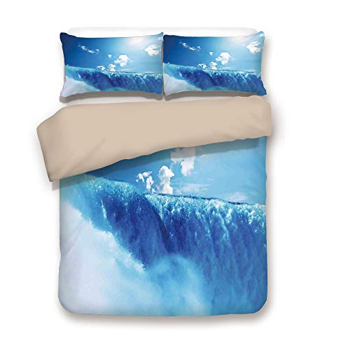 iPrint Duvet Cover Set,Back of Khaki,Waterfall,Niagara Falls and Clear Sky Landscape Image Majestic River Nature Theme Artistic Print,Blue,Decorative 3 Pcs Bedding Set by 2 Pillow Shams,Full (Grande Clear Glass Waterfall)