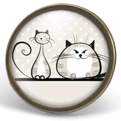 ref.77 Regalo di Natale per idea regalo moglie San Valentino- regalo di compleanno Anello cabochon,I due gatti bronzo