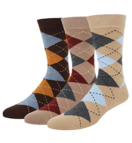 Men's 3 Pack Carlyle Argyle Crew Sock Brown Funky Diamond Assorted Colors Dress ()