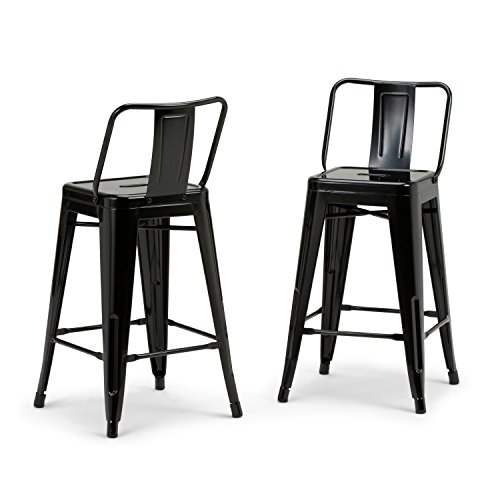 Simpli Home AXCRAY24-01-GBL Rayne Industrial Metal 24 inch Counter Height Stool (Set of 2) in Black ()