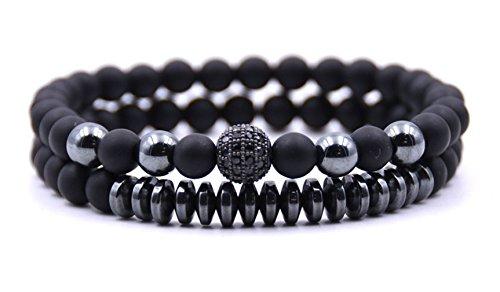 - Moonsky 6mm Black Matte Onyx Beads Couple Bracelet for Men Women Elastic Yoga Bracelet Set