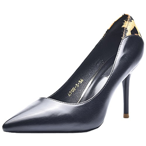 Stiletto Matte Women's Black Heel Pumps Toe Pumps HooH Leopard Pointed High 8waAwqZ