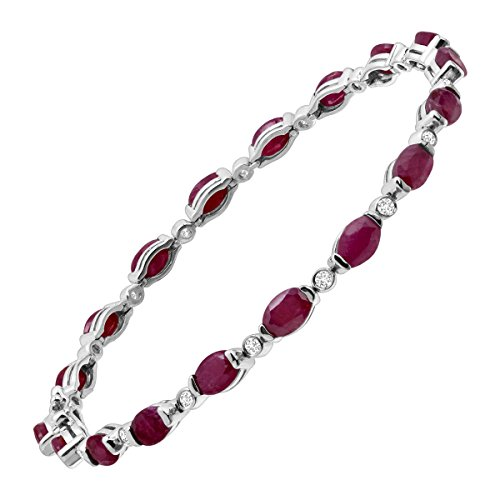 10 ct Natural Ruby & White Topaz Link TennisBracelet in Sterling Silver by Finecraft