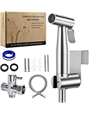 Handheld Bidet Sprayer for Toilet, Stainless Steel Bathroom Toilet Jet Sprayer with Long Hose, Easy Install Great Water Pressure, Support Wall or Toilet Mount