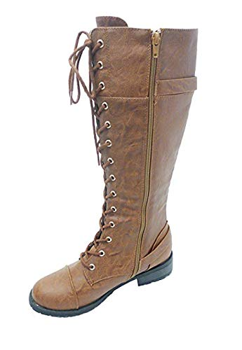 Wild Diva Timberly Women's Fashion Lace Up Buckle Knee High Combat Boots (9 M US, Cognac TImberly-282) (Pu Lace Up Knee Boot)