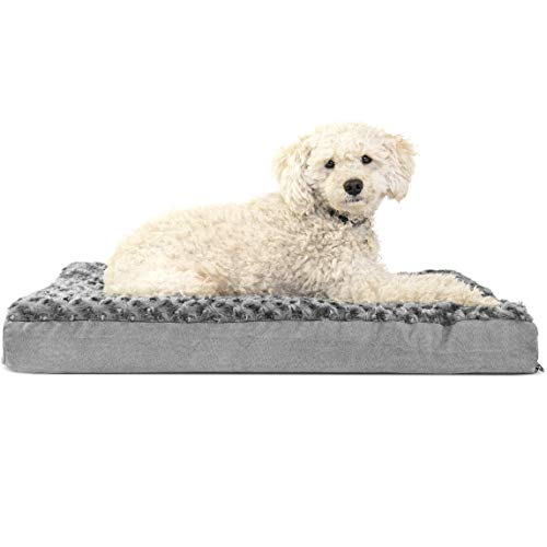 - FurHaven Pet Dog Bed | Deluxe Orthopedic Ultra Plush Mattress Pet Bed for Dogs & Cats, Gray, Medium