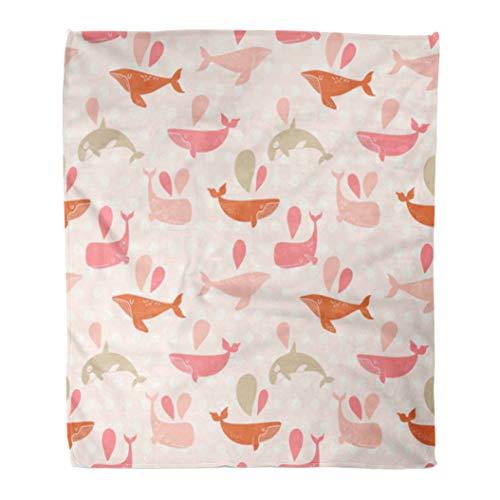 hrow Blanket 60 x 80 Inches Baby Stunning Underwater in Awesome Pink Colors Lovely Whales for Modern Designs Warm Flannel Soft Blanket for Couch Sofa Bed ()