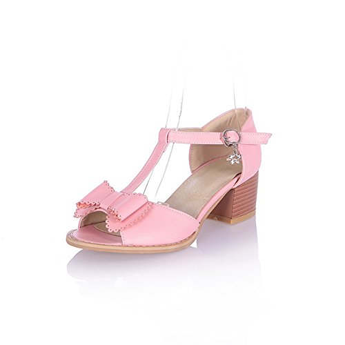 US and Peep Material M B with Sandals Soft 5 WeenFashion Kitten Toe Buckle Pink Heel Womens Open Solid PU Bowknot 5 qOxRSOCw