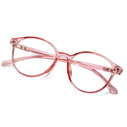 Fake Glasses Vintage Round Eyewear Frame Unisex Stylish Non-prescription Clear Lens Eyeglasses Fashion Glasses for Women Men Pink