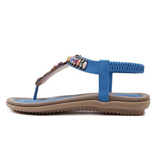 Sandalias de vestir para mujer, YoungSoul Sandalias etnicas planas con cuentas Zapatos de verano bohemia Chanclas playa Azul