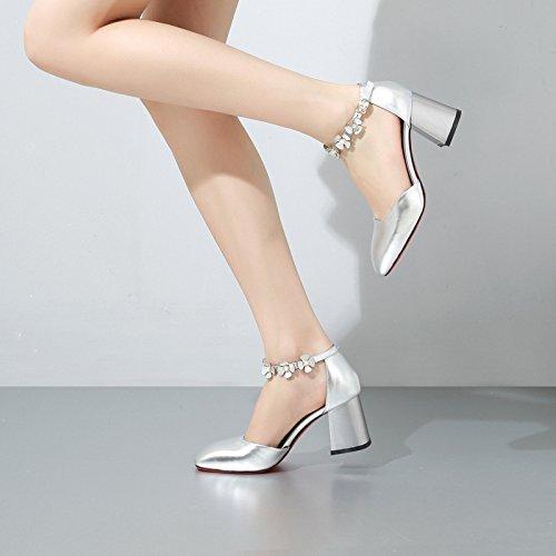 Moda argento Fiore Tacco Sandali Quadrato da Fibbie Tacchi Selvatici DKFJKI in Alti Alla da Pelle Donna Donna afqx8A