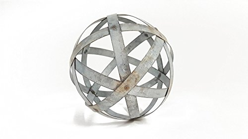 Everydecor Small Galvanized Metal Band Decorative Sphere