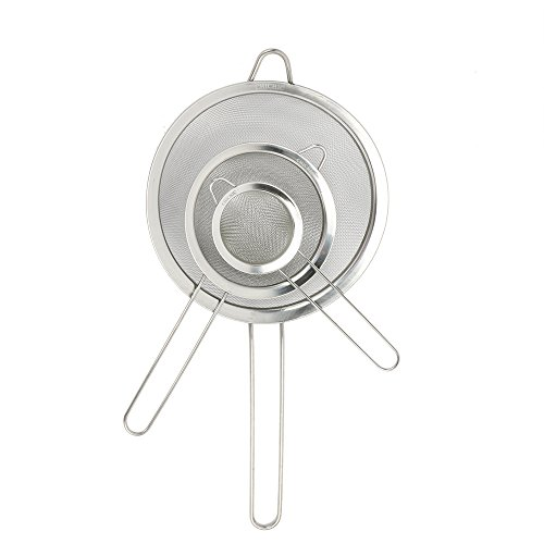 - CHICHIC Set of 3 Stainless Steel Kitchen Fine Strainers Tea Fine Y Mesh Strainers Juice Egg Filter 3 Sieve Colander Sets Wire Filter Mesh for Tea Coffee Food Rice Vegetable with Handle
