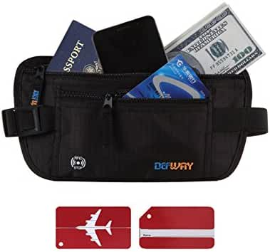 Money Belt Travel Wallet RFID Blocking Pouch with 2 PCS Luggage Tags
