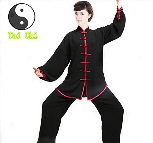 WUYIN Cotton Silk Tai Chi Uniform Tai chi Clothes Martial Arts Kung fu Clothes Tang Suits (Size Chart in Last Photo) (XXXXL, Black with Red ()