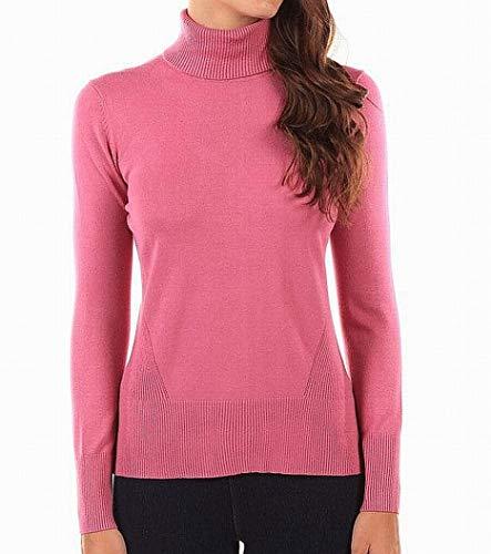- Cable & Gauge Women's Large Ribbed Trim Turtleneck Sweater Pink L