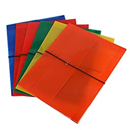 Eagle Poly Document Carry Folder with Elastic Strap and Expandable Gusset, Letter Size, Holds up to 300 Sheets, Assorted Colors, Pack of 6