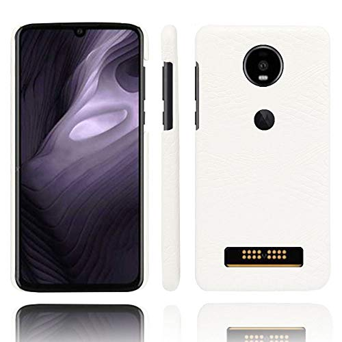 Moto Z4 Play Case,Abeike Luxury Classic Crocodile Skin Pattern [Ultra Slim] PU Leather Anti-Scratch PC Protective Hard Case Cover for Moto Z4 Play (White)