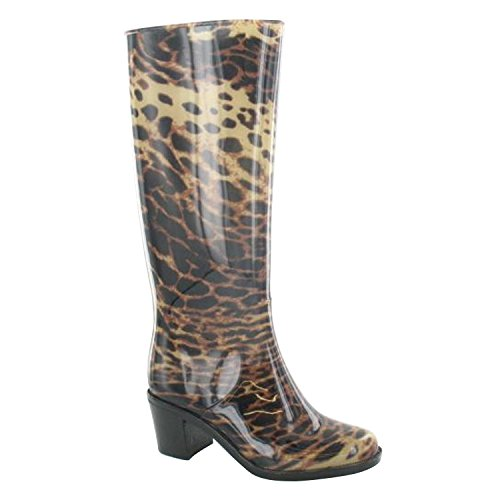 Spot On , Damen Gummistiefel Leopardenmuster