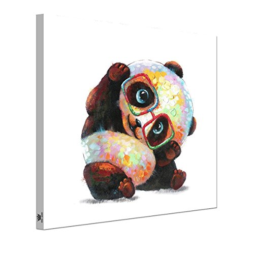 RAIN QUEEN Animals Canvas Wall Art, Modern Glasses Panda Art Oil Painting Prints on Canvas, Stretched &Framed, Ideal Home Decor for Kitchen, Kids Bedroom, Living Room - Ready to Hang (Child Framed Canvas)