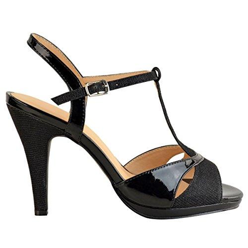 Thirsty Bodas Fiesta Medio heelberry Patente Negro Tacones Zapatos Nuevo Mujer Sandalias Brillante Boda Fashion Mujer Alto Números Tfw4qd4x