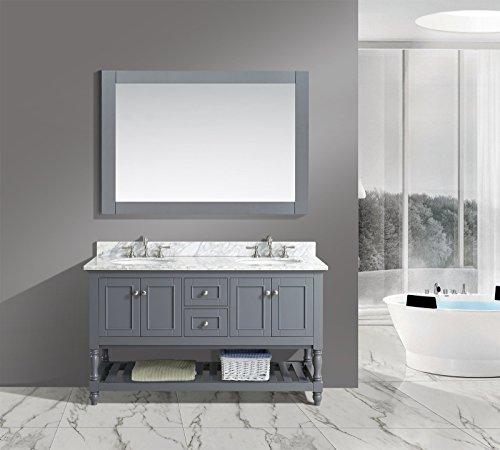 UrbanFurnishing.net - Silvia 60-Inch (60'') Bathroom Sink Vanity Set with White Italian Carrara Marble Top - Charcoal by UrbanFurnishing.net