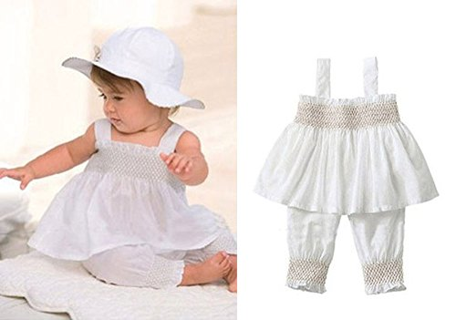 3pcs Baby Toddler Girl Ruffle Top+Pants+Hat Outfit Set 6-9 M White (Infant Top Hat)