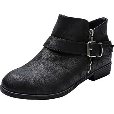 Amazon.com | Luoika Women's Wide Width Ankle Booties - Low