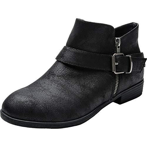 Luoika Women's Wide Width Ankle Booties - Low Block Heel Side Zipper Buckle Srtap Comfortable Boots. (180904,Black,10.5) Black Buckle Ankle Boots