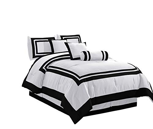 Chezmoi Collection 7 Piece Caprice Square Pattern Hotel Comforter Set, Full/Double, White/Black (And Double Bedding Sets White Black)