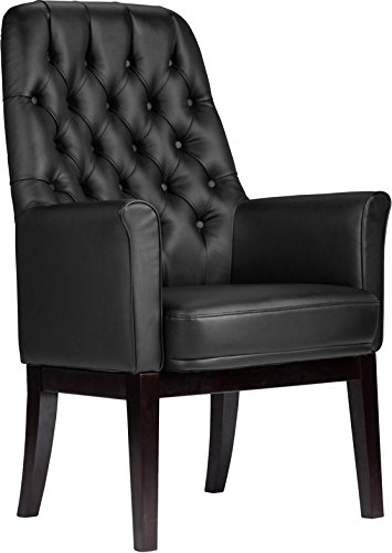High Back Traditional Tufted Black Soft Leather Executive Office Side Chair (Chair Executive Traditional Side)