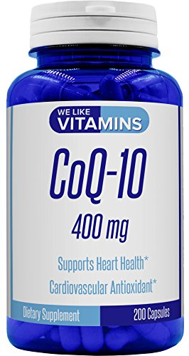 CoQ10 400mg Per Serving - 200 Capsules (Non GMO & Gluten Free) Max Strength Best Value CoQ-10 - Antioxidant Co Q-10 Coenzyme for a Healthy Heart