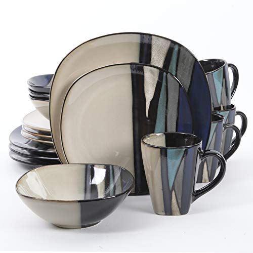 Gibson Elite Althea 16 Piece Reactive Glaze Dinnerware Set in Teal; Includes 4 Dinner Plates, 4 Dessert Plates, 4 Bowls and 4 Mugs