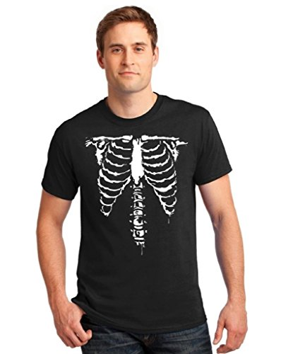 [icustomworld Halloween T-shirt Front Ribcage Anatomical Skeleton Costume Shirt M Black] (Zombie Ribs Costume)