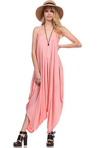 (JP2883 Solid Color Ladies Spaghetti Strap Loose Fit Harem Jumper Jumpsuit Rose S)