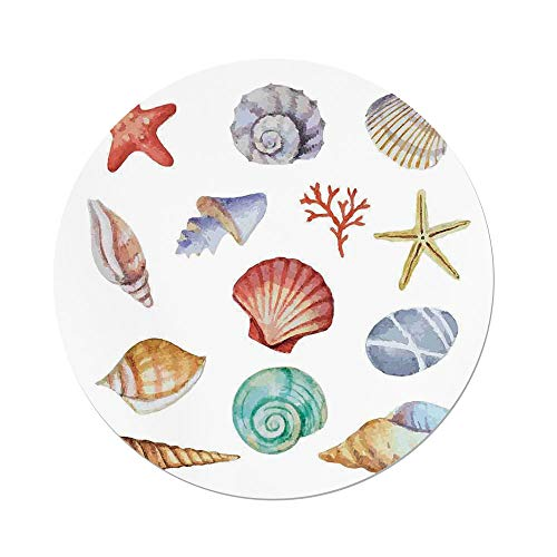 Polyester Round Tablecloth,Nautical,Collection of Different Type Seashells Scallop Mollusk Summer Exotic Creatures Animals,Multi,Dining Room Kitchen Picnic Table Cloth Cover,for Outdoor Indoor