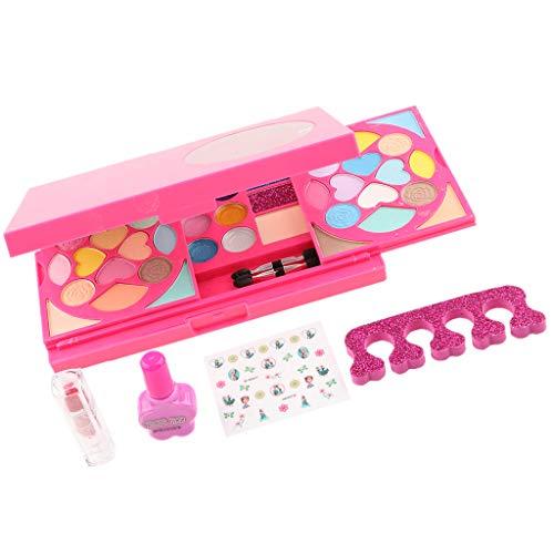 (B Blesiya Pretend Makeup Toy for Girls Play Cosmetic Set Make Up Game for Kids & Gifts Eyeshadow, Lip-Gloss & Blusher with Mirror, Nail Polish, Lipstick Kit)