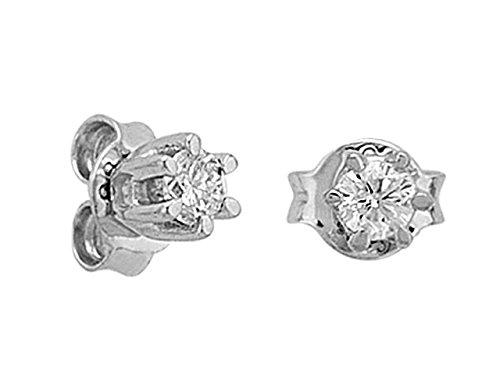 Birgie Diamants et Bijoux -Boucles d'Oreilles Solitaire 0.20 Carat-Femme- or Blanc 204E0010