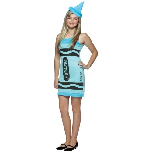 Sky Blue Crayon Costume (Crayola Sky Blue Tank Dress Costume - Teen)