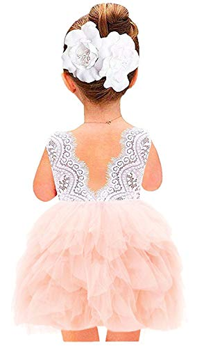 2Bunnies Girl Beaded Peony Lace Back A-Line Tiered Tutu Tulle Flower Girl Dress (Pink Sleeveless Short, 4T)