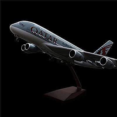 """24-Hours 18"""" 1 160 Scale Airplane Model Qatar A380 with LED Light(Touch or Sound Control) for Decoration or Gift"""